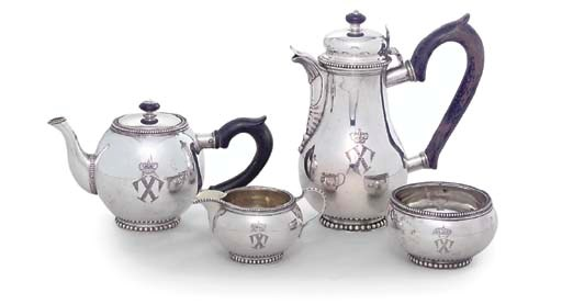 A DANISH SILVER TEAPOT AND SUG