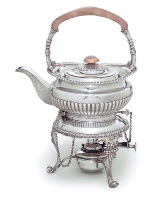 A SILVER-PLATED TEA-KETTLE, ST