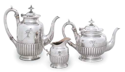 A SILVER PLATED TEA AND COFFEE