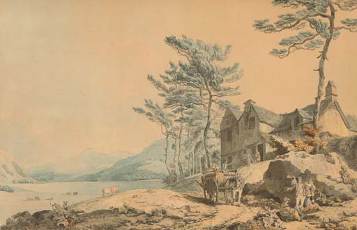View of Coniston Water, Cumbria, with figures and a farm-cart in the foreground