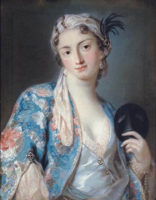 Portrait of a young lady in oriental costume, holding a carnival mask