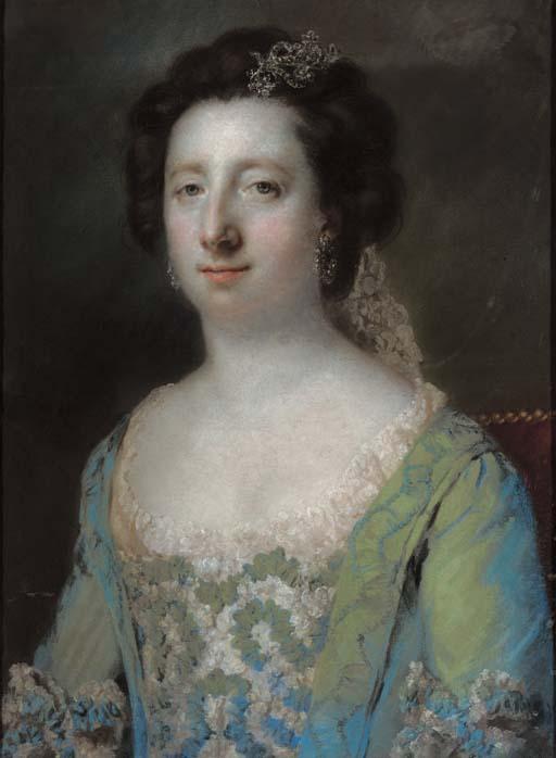 Portrait of The Hon. Mrs Bridget Gunning, half length, in a blue ruffled gown
