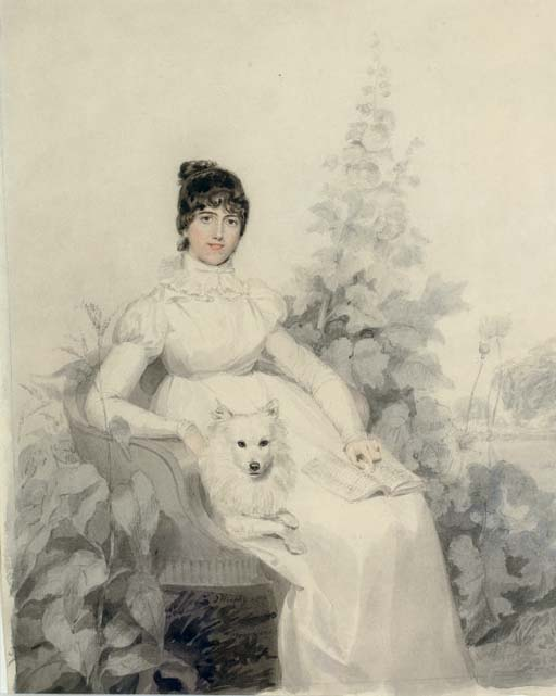 Portrait of Miss Godfrey, full-length, seated with her dog