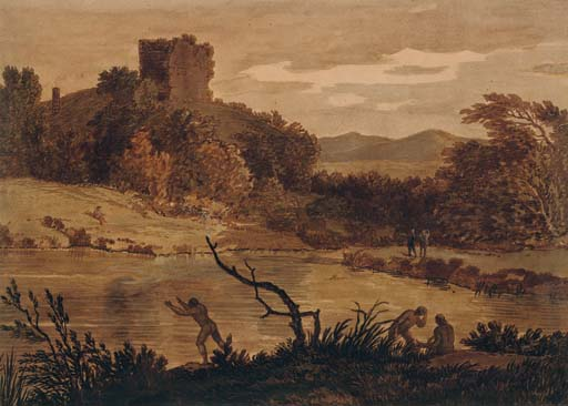 A landscape with men bathing and a ruined tower beyond