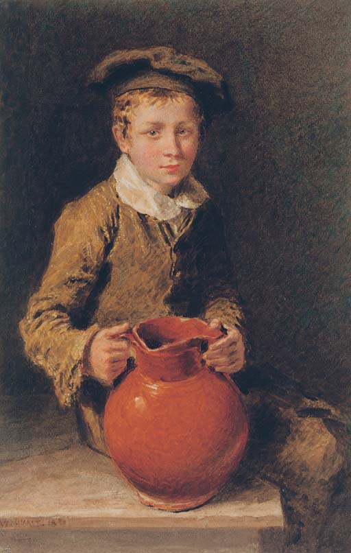 Portrait of one of the Swain brothers holding a pitcher