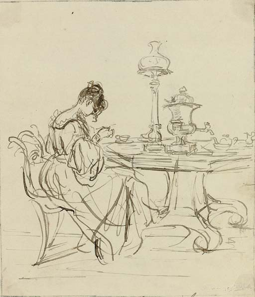 Study of a lady seated at a tea-table (recto) (illustrated) and study of a kneeling girl (verso); and Study of a lady working on an embroidery