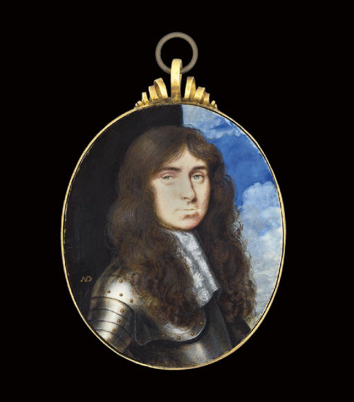 A gentleman, in gilt-studded armour, white lace cravat, long curling brown hair; pillar and sky background
