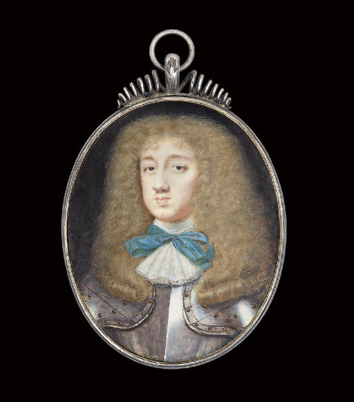 A gentleman called Thomas Wriothesley, 4th Earl of Southampton (1607-1667), in studded armour, white lace jabot tied with a blue bow, full-bottomed curling fair wig