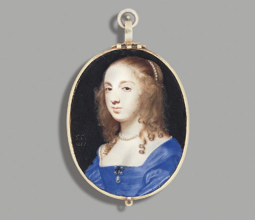 A lady called Mrs John Lewis (née Sarah Foote), in white- bordered blue silk dress, gem-set brooch flanked by four pearls, suspended with drop-pearl and worn at corsage, a strand of pearls in her upswept fair curling hair and falling over her shoulders