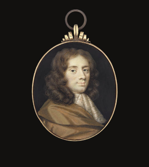 A young gentleman, in brown silk cloak, white lace cravat, long curling brown hair