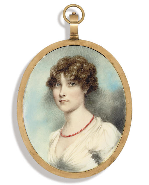 A young lady, in white dress with puffed sleeves, coral necklace, upswept curling dark hair; sky background