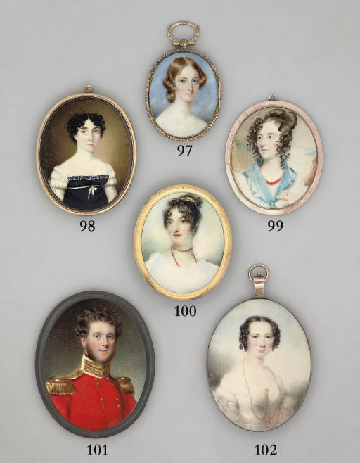 A young lady, in white dress, blue gauze kerchief tied at neck with gold ring, coral necklace, upswept brown hair dressed in ringlets, wearing a silver ring on the wedding-ring finger of her upheld left hand; foliate and sky background