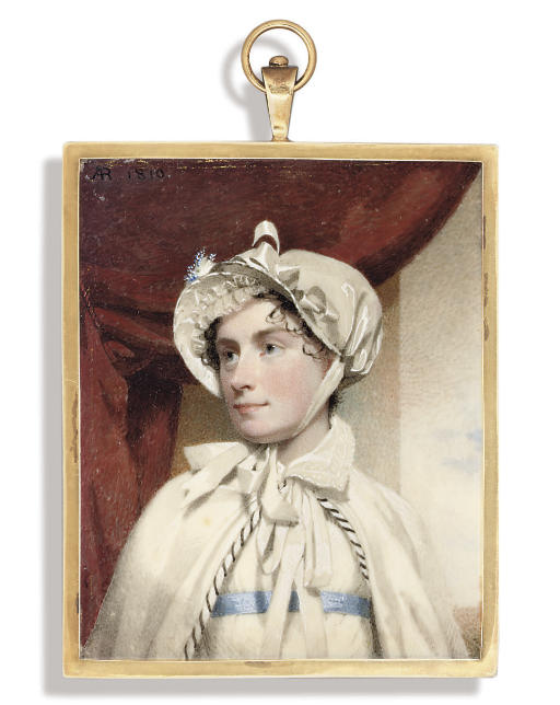 A young lady called Mary Snell Brightwell (née Wilkin), in white Empire-line dress with blue sash, white cloak with black and white striped border tied with ribbon at neck, lace collar, white bonnet adorned with white ribbon and blue and white feathers, lace frill under peak, tied under chin with white ribbon, upswept dark hair dressed in curls; red curtain, pillar and sky backbround