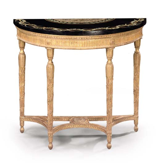 A GEORGE III GILTWOOD SIDE TABLE WITH SCAGLIOLA TOP