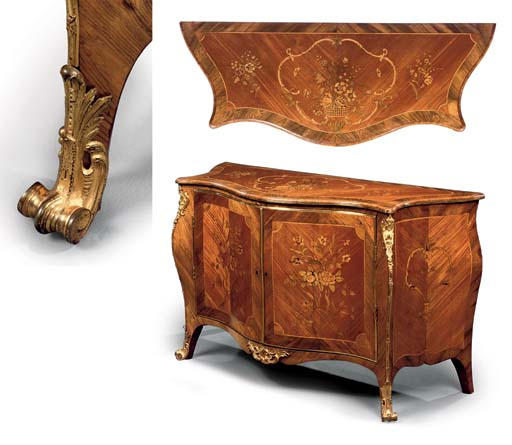 A GEORGE III ORMOLU-MOUNTED ROSEWOOD, SABICU AND MARQUETRY SERPENTINE BOMBÉ COMMODE