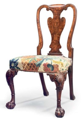 A GEORGE II BURR-WALNUT SIDE C