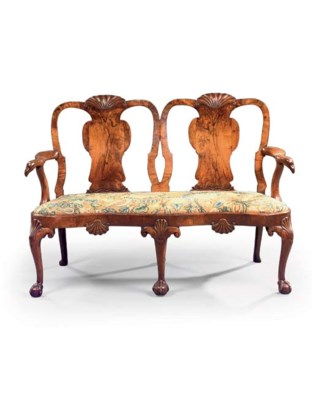 A GEORGE I WALNUT DOUBLE CHAIR