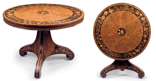 A WILLIAM IV YEWWOOD, EBONY, MOTHER-OF-PEARL, IVORY AND GREEN-STAINED IVORY INLAID MARQUETRY CENTRE TABLE