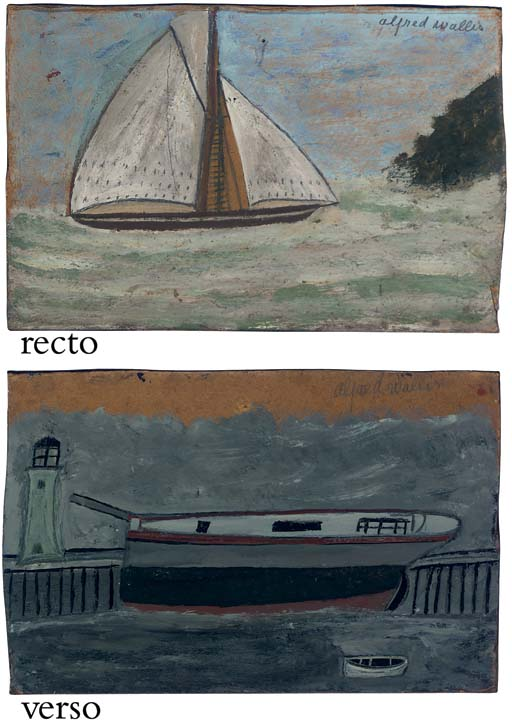Yacht (recto); Mastless boat, Dinghy and Lighthouse (verso)