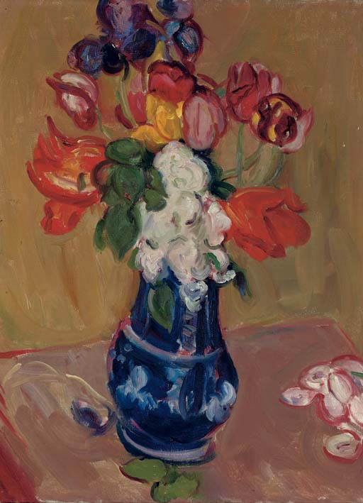 Spring flowers in a blue vase