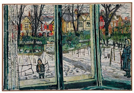 John Bratby, R.A. (1928-1992)   Snow in the Front garden   early ...