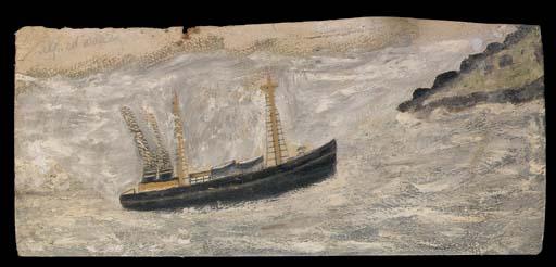 Double-chimneyed steamboat sailing towards headland