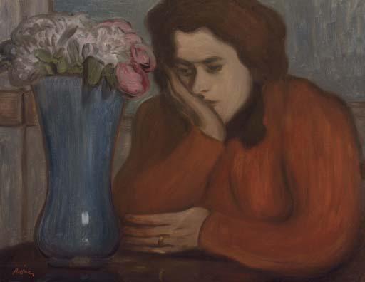 Femme pensive au vase de fleurs
