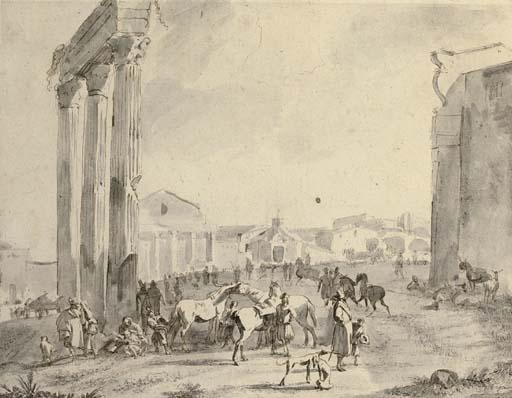 A horse fair in the Campo Vaccino, Rome