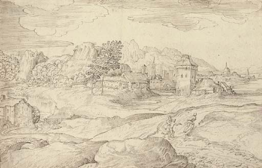 An extensive landscape with a watermill and figures on a road, a town beyond