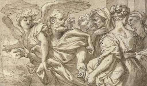 Lot and his family leaving Sodom