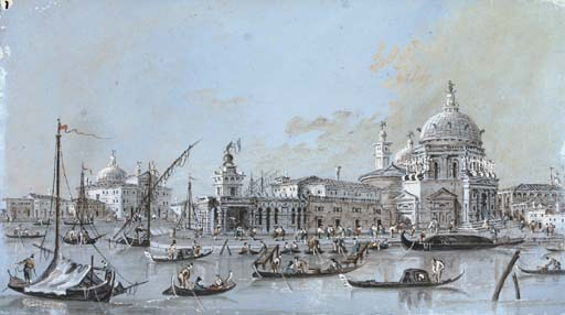 View of S. Maria della Salute and the Dogana, Venice, the Giudecca seen beyond