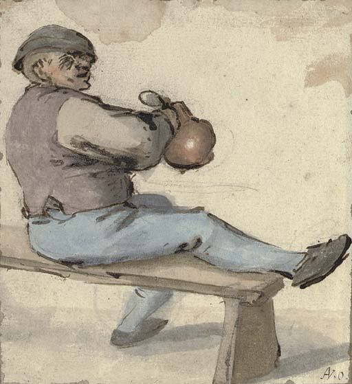 A seated drinker holding an earthenware pot