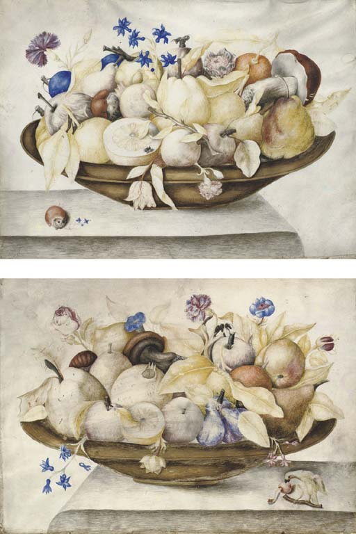 Still life with oranges, lemons, figs, mushrooms, roses and carnations in a brass dish, a parrot eating a cherry below; and Still life with pears, oranges, plums, mushrooms and carnations in a brass dish, a guinea pig holding flowers in his mouth below