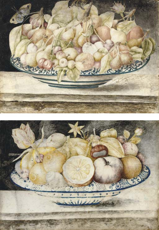 Still life with cherries, peaches and figs in a blue and white dish, a butterfly above; and Still life with oranges, lemons, peaches, chestnuts and a snail in a blue and white dish