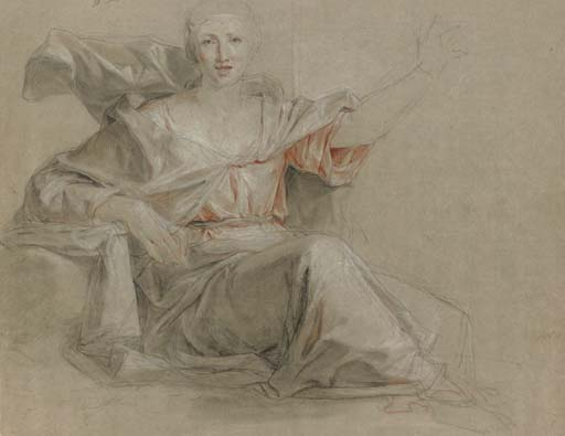A seated woman, her left arm raised