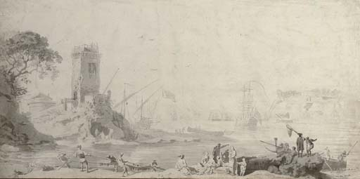 View of a harbour with fishermen hauling up nets, and a watchtower on a promontory