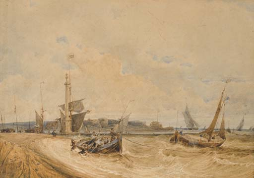 Fishermen in a small boat near the shore, perhaps at Calais, sailing boats in the background