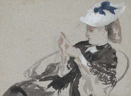 A young woman, seated in profie to the left, wearing a hat