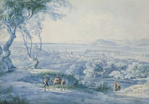 Figures on a road, a bay seen beyond