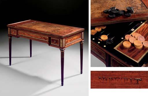 A LOUIS XVI ORMOLU-MOUNTED, MAHOGANY GAMES TABLE