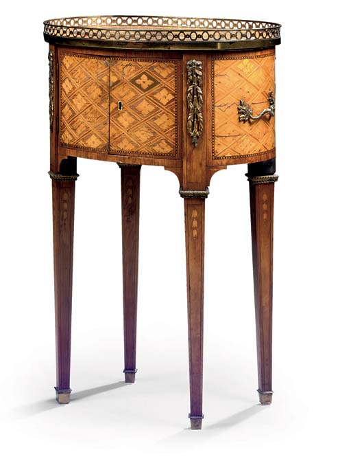 A LOUIS XVI ORMOLU-MOUNTED TULIPWOOD, BOIS CITRONNIER AND FRUITWOOD PARQUETRY TABLE DE CHEVET