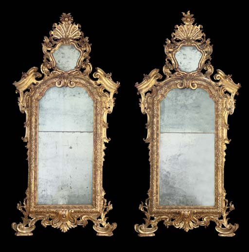 A PAIR OF SOUTH ITALIAN GILT-VARNISHED SILVERED (MECCA) MIRRORS