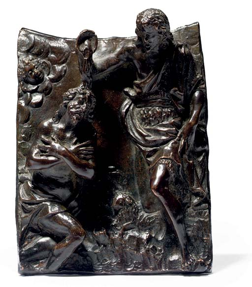 A RECTANGULAR BRONZE PLAQUETTE OF THE BAPTISM OF CHRIST