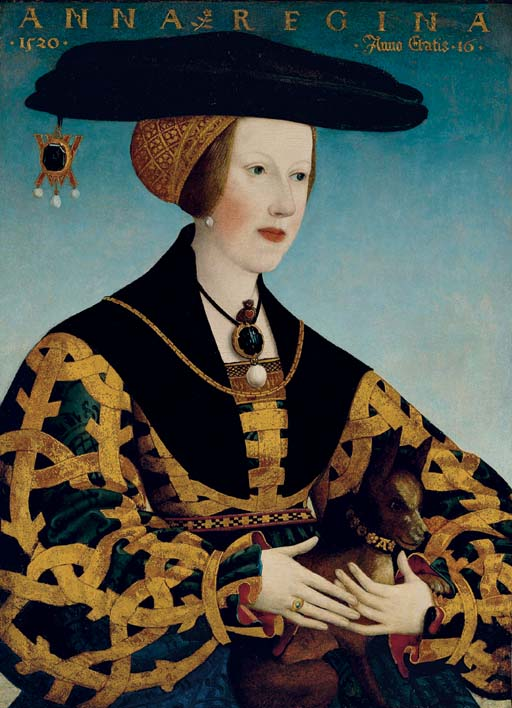 Portrait of Queen Anne of Hungary (1503-1547), half-length, seated, in a blue and gold dress