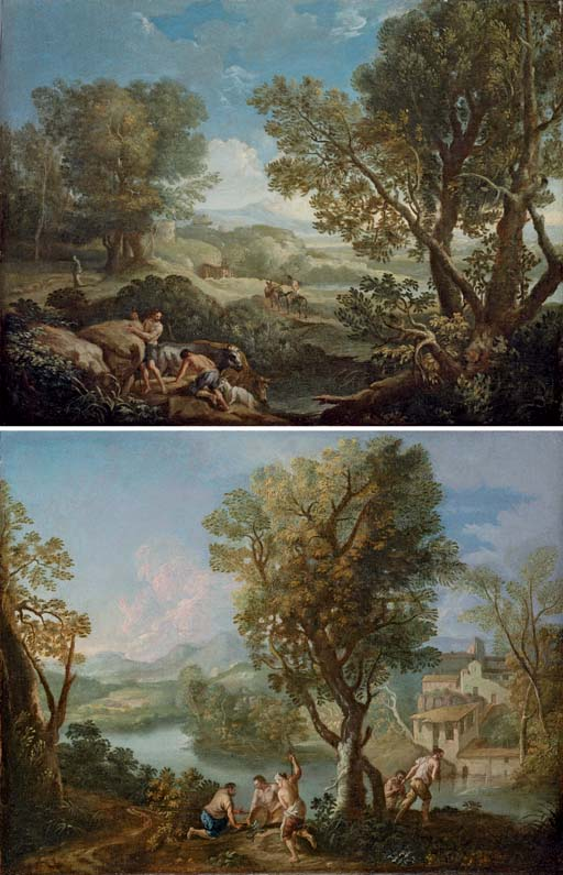 An Italianate wooded landscape with shepherds; and An Italianate river landscape with fishermen on a bank