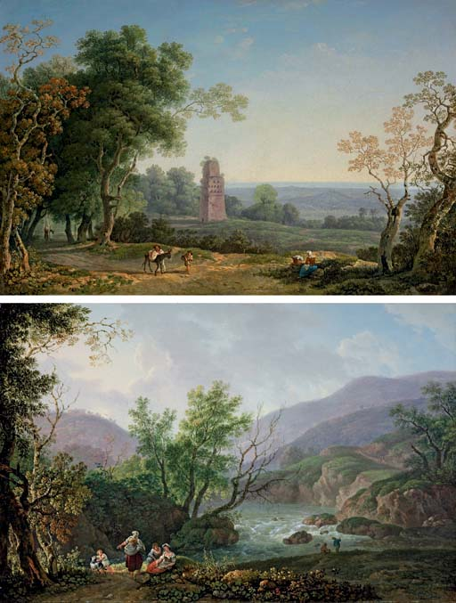 An Italianate landscape with peasants on a path, an ancient mausoleum beyond; and An Italianate river landscape with peasants seated on a bank