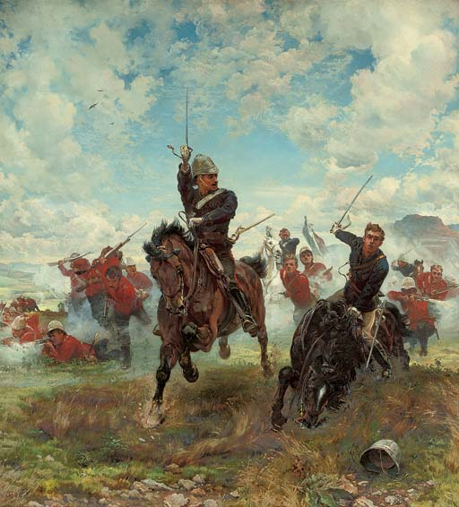 """Floreat Etona!  An eye-witness of the attack on Laing's Neck thus describes the incident depicted: 'Poor Elwes fell among the 58th. He shouted to another Eton boy (adjutant of the 58th, whose horse had been shot) """"Come along, Monck! Floreat Etona! We must be in the front rank!"""" and he was shot immediately'"""