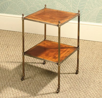 A MAHOGANY AND BRASS TWO-TIER