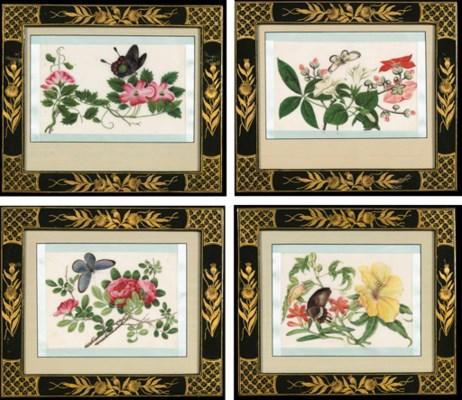 A SET OF FOUR RICE-PAPER FLOWE
