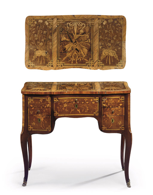 A LOUIS XV ORMOLU-MOUNTED, TULPIWOOD, ROSEWOOD AND MARQUETRY COIFFEUSE